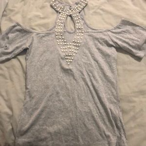 Cut-Out Shirt with Pearls